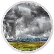Rocky Mountain Panorama Hdr Round Beach Towel