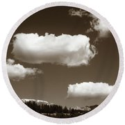 Round Beach Towel featuring the photograph Rocky Mountain Pillows by Marilyn Hunt