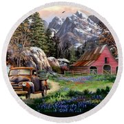 Rocky Mountain Ranch Round Beach Towel by Ron Chambers