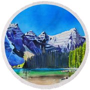 Rocky Mountain Sunrise Round Beach Towel