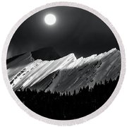 Rocky Mountains In Moonlight Round Beach Towel