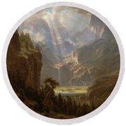Round Beach Towel featuring the painting Rocky Mountains, Lander's Peak by Albert Bierstadt