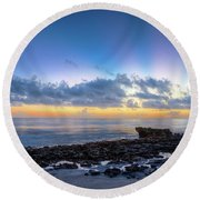 Round Beach Towel featuring the photograph Rocky Reef At Low Tide by Debra and Dave Vanderlaan