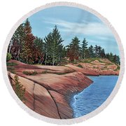 Round Beach Towel featuring the painting Rocky River Shore by Kenneth M Kirsch