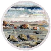 Rocky Seashore Round Beach Towel