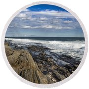 Rocky Shore Line Two Lights Maine  Round Beach Towel by Debra Forand