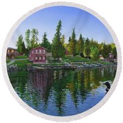 Rocky Shore Lodge Round Beach Towel
