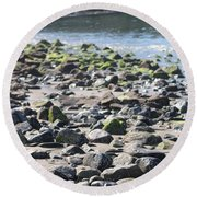 Round Beach Towel featuring the photograph Rocky Shore Of Sand Beach by Living Color Photography Lorraine Lynch