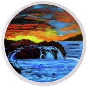 Rocky Shores Round Beach Towel by Jenny Lee