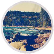 Round Beach Towel featuring the photograph Rocky Shores Of Lake Superior by Phil Perkins
