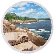 Rocky Summer Seascape Acadia National Park Photograph Round Beach Towel by Keith Webber Jr