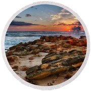 Rocky Sunrise Round Beach Towel