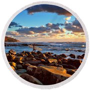 Rocky Surf Conditions Round Beach Towel