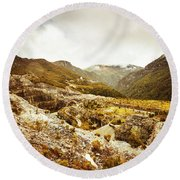 Rocky Valley Mountains Round Beach Towel