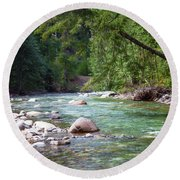 Rocky Waters In The North Cascades Landscape Photography By Omas Round Beach Towel