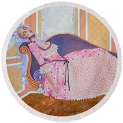 Rococo Coquette -- Mme. Pompadour, #2 In Famous Flirts Series Round Beach Towel