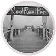 Rod And Reel Pier In Fog In Infrared 53 Round Beach Towel