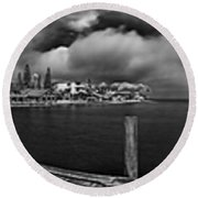 Rod And Reel Pier In Infrared Round Beach Towel