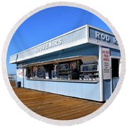 Round Beach Towel featuring the photograph Rod Rental At The Pismo Beach Pier by Floyd Snyder