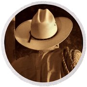 Rodeo Cowboy Round Beach Towel by American West Legend By Olivier Le Queinec