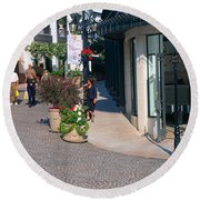 Rodeo Drive, Beverly Hills, California Round Beach Towel by Panoramic Images