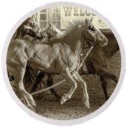 Rodeo Horses - Antique Sepia Round Beach Towel