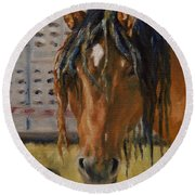 Rodeo Horse Round Beach Towel by Lori Brackett