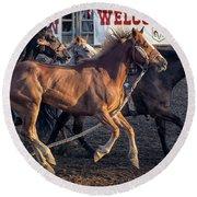 Rodeo Horses Round Beach Towel