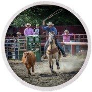 Cowboy In Action#1 Round Beach Towel