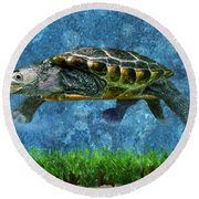 Rodney The Diamondback Terrapin Turtle Round Beach Towel