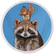 Rodney The Raccoon Round Beach Towel