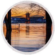 Roebling Through The Trees Round Beach Towel