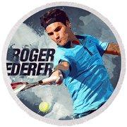 Roger Federer Round Beach Towel