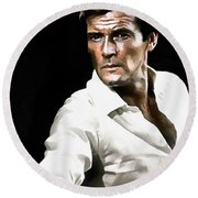 Roger Moore Round Beach Towel