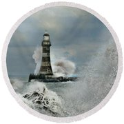 Roker Pier And Lighthouse Round Beach Towel