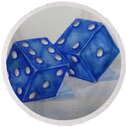 Round Beach Towel featuring the painting Roll The Dice by Kelly Mills