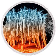 Rolled Tree Orangenblue Round Beach Towel
