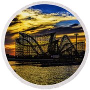 Roller Coaster Sunset Round Beach Towel