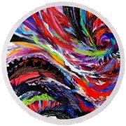 Rolling Detail Three Round Beach Towel by Expressionistart studio Priscilla Batzell