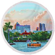 Round Beach Towel featuring the painting Rolling Down The New River by Deborah Boyd