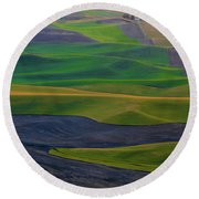 Rolling Fields Of The Palouse Round Beach Towel by James Hammond
