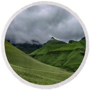 Rolling Green Drakensberg Mountains Round Beach Towel