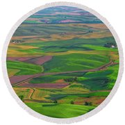 Rolling Green Hills Of The Palouse Round Beach Towel by James Hammond