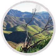 Round Beach Towel featuring the photograph Rolling Green Hills With Dead Branches by Matt Harang