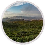 Rolling Hills Of Chaparral Round Beach Towel