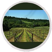 Rolling Hills Winery Grapevines   Round Beach Towel