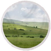 Rolling Landscape, Romania Round Beach Towel