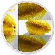Rolling Lemons Round Beach Towel
