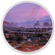 Rolling Mist Through Arches Round Beach Towel