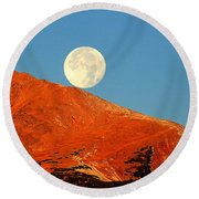Round Beach Towel featuring the photograph Rolling Moon by Karen Shackles